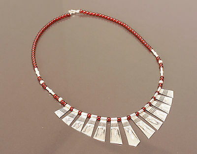 Stunning Silver & Red Glass Tuareg Blade Necklace + Gift Box - African Jewellery