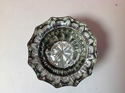 Vintage 12 sided clear glass raised star design door know with set screw