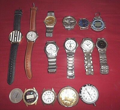 Large Junk Drawer Mixed Lot Of 14 Men's Watches