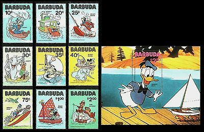 Barbuda 1981 Disney Ships Fish Fishing Minnie Mickey Donald Set & M/sheet Mnh