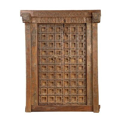 Antique  Hand Carved Wood Bhutan Rustic Double Door