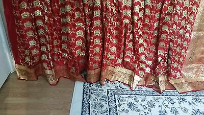 Varanasi silk wedding sari bridal wear red green gold kathan saree craft uses