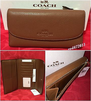 New Authentic Coach Pebbled Leather Trifold Wallet Saddle (NO CHECKBOOK HOLDER)