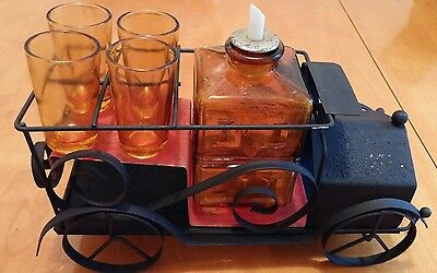 Vintage car bar set stand with amber decanter and 4 glasses