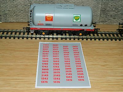 Alternative Wagon numbers Decals for Farish Grey BP Shell tank TTA  N Gauge