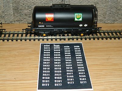 Alternative Wagon numbers Decals for Bachmann Black BP Shell tank TTA  OO Gauge
