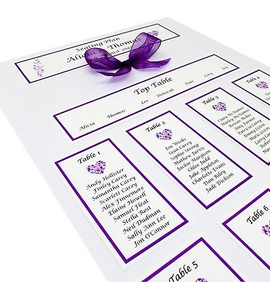 Personalised A3  Wedding Table Plan / seating plan- lots of colours available