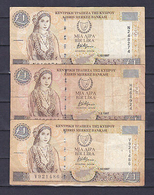 CYPRUS .1 LIRA 1997 . (2.99 $ FOR ONE NOTE).(See the descriptions)