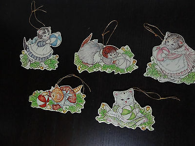KITTY CUCUMBER Die Cut Chipboard Ornaments Victorian-Style - Set of 5 Double Sid