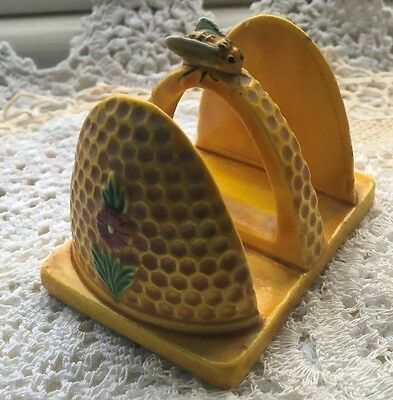 Small Rare Vintage Japanese Marutomoware 2 Slice Toast Rack with Bee Yellow