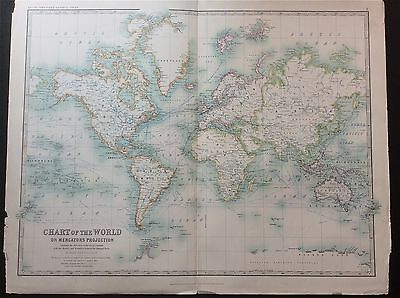CHART of THE WORLD on Mercators Projection c1904, by A. K Johnston, colour