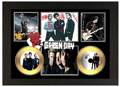 Green Day - A3 Signed Framed Gold Vinyl Collectors Cd Display Picture