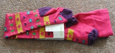 New John Lewis cotton rich tights pink/multi 2-3 years