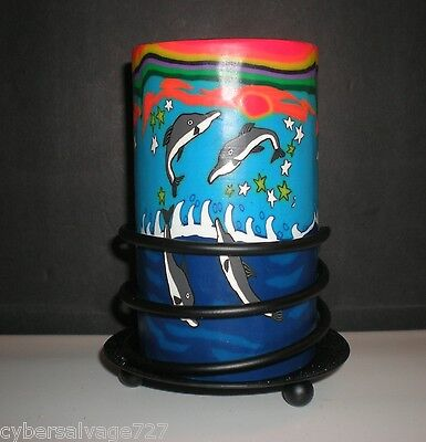 Dolphin Theme Candle Holder Votive Tea Light Small Pilla Glass with Stand