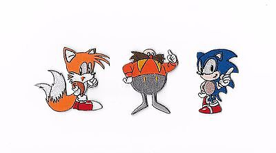 Sonic The Hedgehog 3 Patch Set Tails Dr Eggman Embroidered Iron on Badge Costume