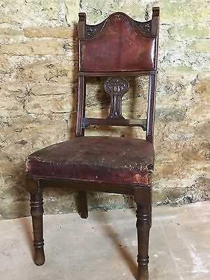 Antique Leather Hall Chair