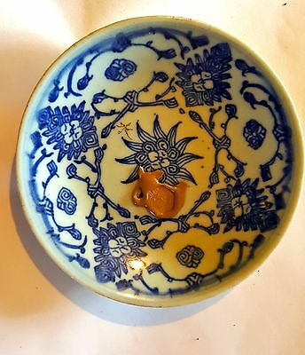 ANTIQUE CHINESE BLUE & WHITE PROVINCIAL PLATE 18/19TH C Dept of Antiquties Stamp