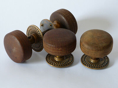 Two Pairs of Wood Doorknobs & Brass Rosettes Original Finish