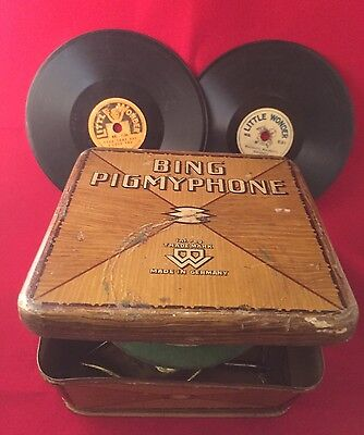 "Rare Vintage Bing Pigmyphone Toy Gramaphone With 12 ""Little Wonder"" Records"