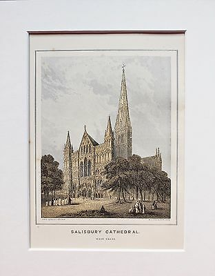 Salisbury Cathedral West Front - Antique Colour Print Engraving Lithograph