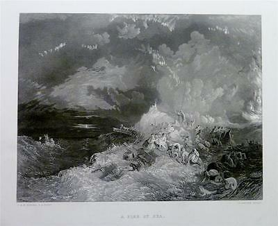 Antique Print 1878 : A FIRE AT SEA - SHIPWRECK, FEMALE CONVICTS by J.M.W. TURNER