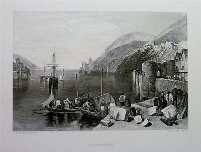 Antique Print 1878: DARTMOUTH, DEVON - HARBOUR, SHIPS, BOATS  by J.M.W. TURNER