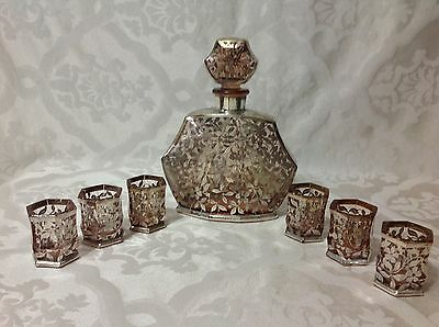 1920s Beautiful Silver Overlay Pink Tint Hexagon Decanter w/6 match Shot Glasses