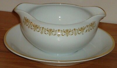 Sheffield fine china GRAVY BOAT & attached UNDERPLATE Imperial Gold Japan