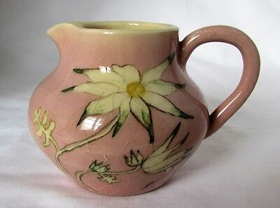 Australian Pottery Martin Boyd Studio Small Pink Jug White Floral Part Signed