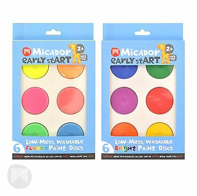 Micador Low-Mess Washable Paint Discs PK6 (Available in Fluoro & Bright Sets)