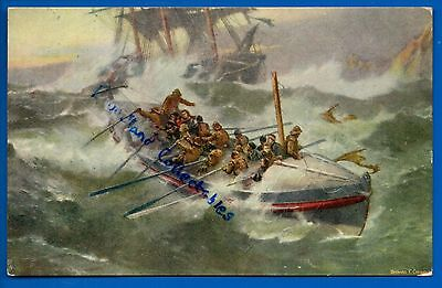 Old Rnli Tuck  Postcard The Return Of The Lifeboat Seascape Art Artist B Gribble