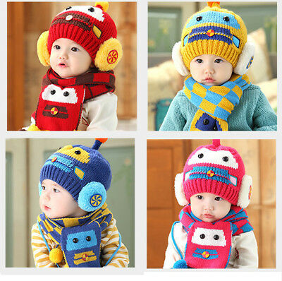 Car Baby Boys Girls Kids Winter Warm Hats Scarf and Cap Set Earflap Beanie Gift