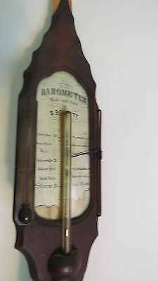 Antique Walnut  Stick Barometer  by S. Barlett