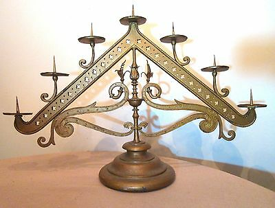 huge antique 1700's hand wrought iron religious church altar candelabra pricket