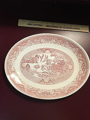 RARE! Vintage Pink Willow 13 Inch Oval Platter Unmarked Ceramic