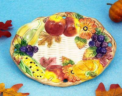 FITZ & FLOYD DECORATIVE or BUTTER/CANDY PLATE AUTUMN PATTERN FALL & THANKSGIVING