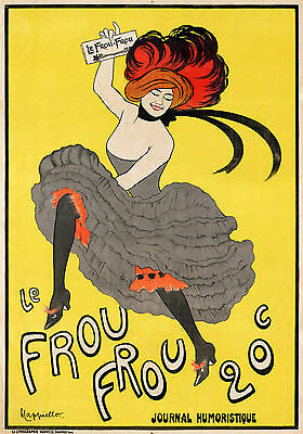 french Art deco  Le Frou Frou yellow vintage poster A0 for your glass frame