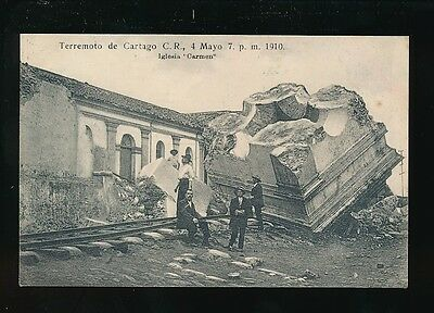 South America Costa Rica CARTAGO Earthquake 1910 Church Iglesia Carmen PPC Rudd