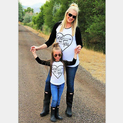 Winter Family Clothe Family Matching Outfits T-shirt Mother Daughter Son Kid Top