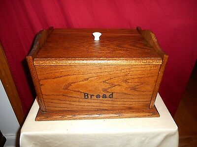 Vintage Hand Crafted Oak Top Loading Large Breadbox - Good Condition!