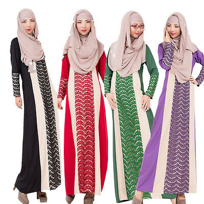 Donne Muslim Arab Robe Middle East Kaftan Abaya Pizzo Stitching Cocktail Vestito