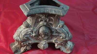 Rare Antique Cast Iron Stand With The Faces Of Jesus Maria Joseph