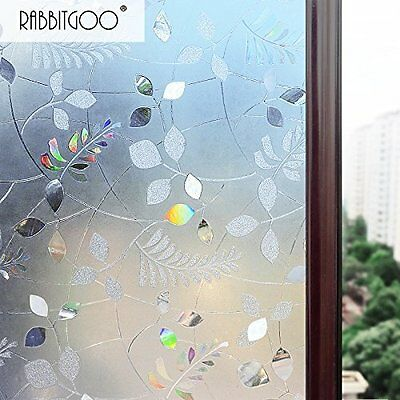 Transparent No Glue Static Cling Privacy Glass 3D Frosted Leaf Window Films Anti