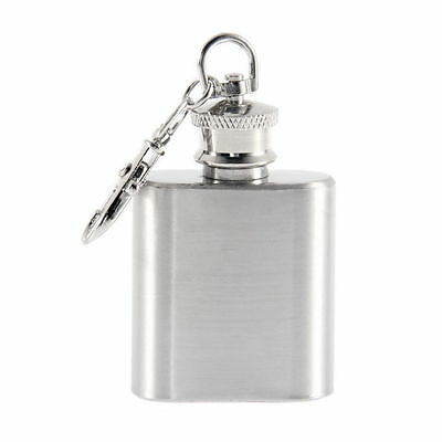 Portable 1oz Mini Stainless Steel Hip Flask Alcohol Flagon with Keychain AA
