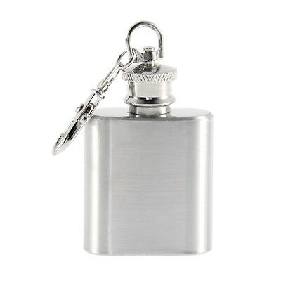 Portable 1oz Mini Stainless Steel Hip Flask Alcohol Flagon with Keychain SM