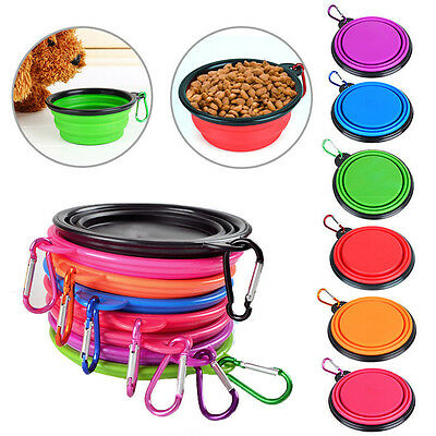 Silicone Waterproof Foldable Pet Dog Cat Bowl Food Feeder Dish Camping Travel