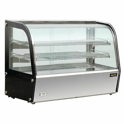 Apuro Heated Countertop Display Cabinet 160Ltr Curved Glass Restaurant Food