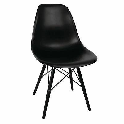 2X Bolero Black Moulded Chairs with Wooden Legs Cafes Restaurant Furniture