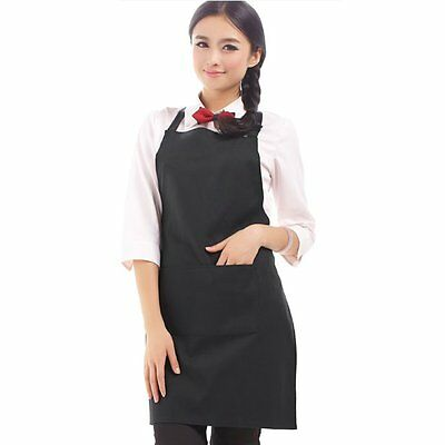 Sleeveless Simple Adjustable Plain Apron with Front Pocket Butcher Chefs DB