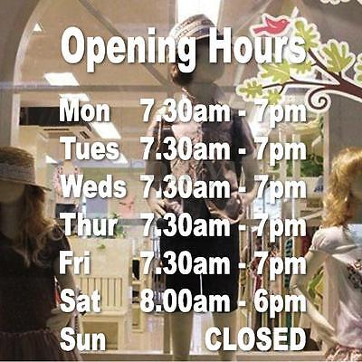 Opening Hours Times Shop Custom Internal Window Wall Decal Sign Sticker Cafes